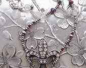 Fleur de Lis Bling Collection - Red and Grey Crystal Necklace - JulietJewelryDesign