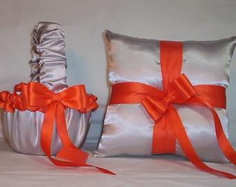 Silver Satin With Orange Ribbon Trim Flower Girl Basket And Ring Bearer Pillow