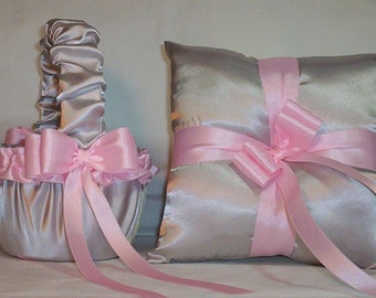 Silver Satin With Light Pink Ribbon Trim Flower Girl Basket And Ring Bearer Pillow
