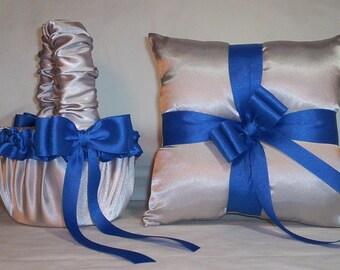 Silver Satin With Horizon Blue (Royal Blue) Trim Flower Girl Basket And Ring Bearer Pillow