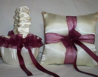 Ivory Cream With Burgandy Ribbon Trim Flower Girl Basket And Ring Bearer Pillow Set 1