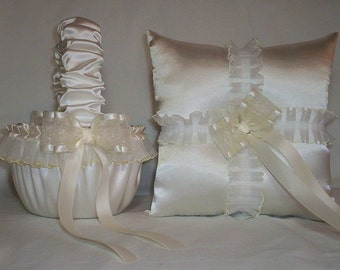 Ivory Cream Satin With Ivory Cream Lace Trim Flower Girl Basket And Ring Bearer Pillow Set 1