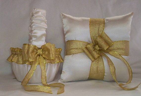 Ivory Cream Satin With Gold Metalic  Ribbon Trim Flower Girl Basket And Ring Bearer Pillow