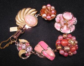 Vintage Earring Bracelet, Bridesmaid Gift, Upcycled Charm Bracelet, Cluster Earrings, Enamel Flower, Under 40 - Pink Coral
