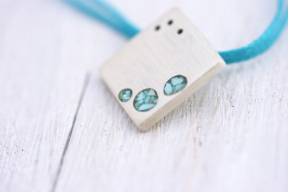Silver and Turquoise Pendant- Square Silver Necklace
