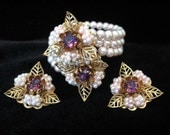 Vintage Faux Pearl and Rhinestone Jewelry - Memory Wrap Bracelet and Earrings Set
