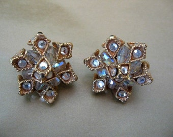 Vintage VENDOME jewelry - Vendome Earrings with Ab Crystal and Rhinestone