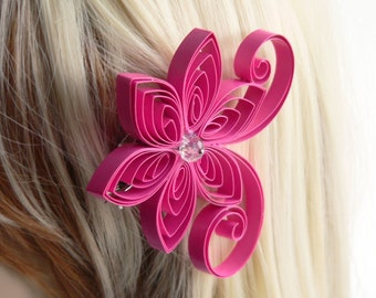 Pink Flower for Hair, Fuchsia Wedding Hair Clip, Magenta Wedding Hair Accessory, Princess