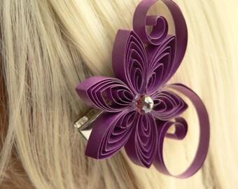 Sangria Purple Floral Hair Accessories, Sangria Wedding Hair Clip