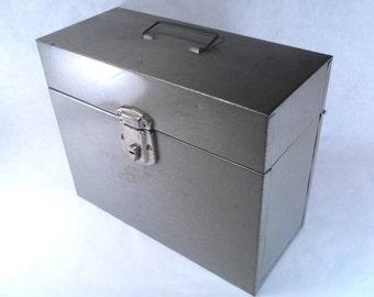 Pearl Grey Metal File Box Vintage 60s