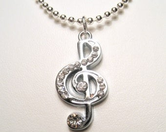 Rhinestone Treble Clef Necklace - Musical Note Necklace - Musician Jewelry - Rhinestone Music Charm - Silver Pendant Necklace - Free Ship