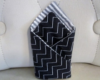 Men's Double Sided Pocket Square - Black Zig Zag and Chambray Grey Stripe