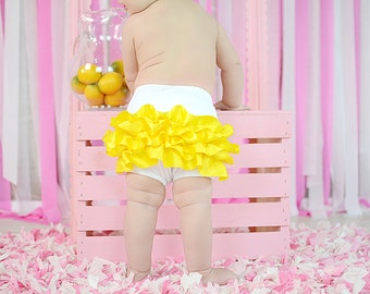 Cotton Satin Ruffled Bloomers You Choose Ruffle Color NB to 2t