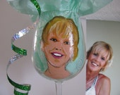 Fun  Caricature Cartoon Portrait ONE Hand Painted Wine Glasses Personalized Glasses