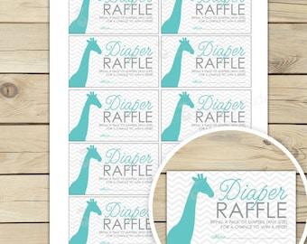 Giraffe Baby Shower Diaper Raffle Tickets - Aqua Blue Gray Chevron Baby Shower Games - Baby Boy Invitation Insert Card - Diaper Raffle Boy
