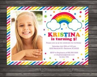 Rainbow Birthday Invitation Printable - Rainbow Party Invitation - Rainbow Birthday Party - Rainbow Invitation - Girl Birthday Invitation