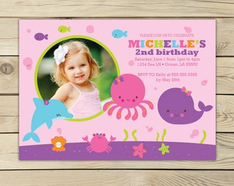 Girl under the sea birthday invitation - under the sea first birthday - under the sea 1st birthday - ocean birthday invitation - girl invite