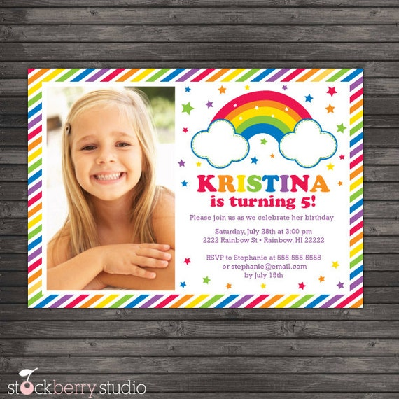 Rainbow Birthday Invitation Printable Rainbow Party Invitation