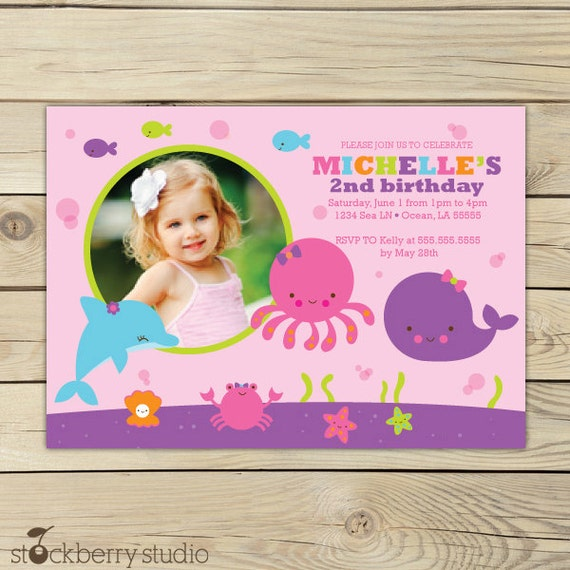Girl Under The Sea Birthday Invitation Under The Sea First - 1st birthday invitations girl purple