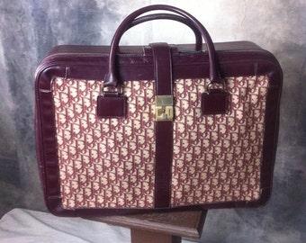Christian Dior 60s Maroon signature Logo suitcase