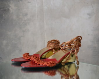 1970s Italian Gold Wedge Sandals size 37.5