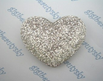 Large glitter silver heart cabochon 1 pcs 50mm X39 mm ---CBXX81A