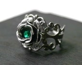 Silver Rose Ring with Emerald Green Crystal - Neo Victorian Steampunk Adjustable