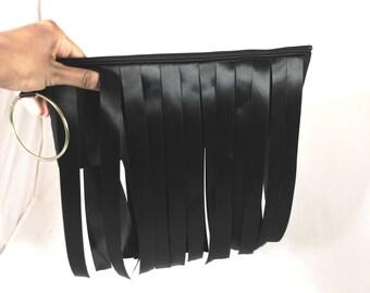 Black fringe Bangle Clutch