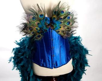 MEDIUM Peacock Costume Burlesque Feather Corset Fantasy Fairy Royal Blue Bird Teal Sexy Adult Women's