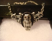 Victorian Style Owl Necklace in Antique Silver (977)