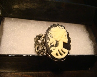 Black and Ivory Lolita Gothic Skeleton Goddess Adjustable Ring in Antiqued Silver (1082