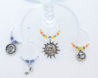 Sun and Moon Wine Charms - Set of 4 Celestial Wine Glass Charms