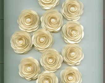 Dozen Sand Ivory Pearl Paper Rose for Events, Crafts, and Weddings