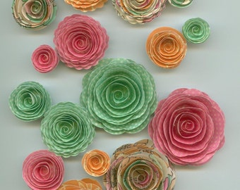 Easter Inspired Handmade Spiral Paper Flowers in Pink, Green, and Orange