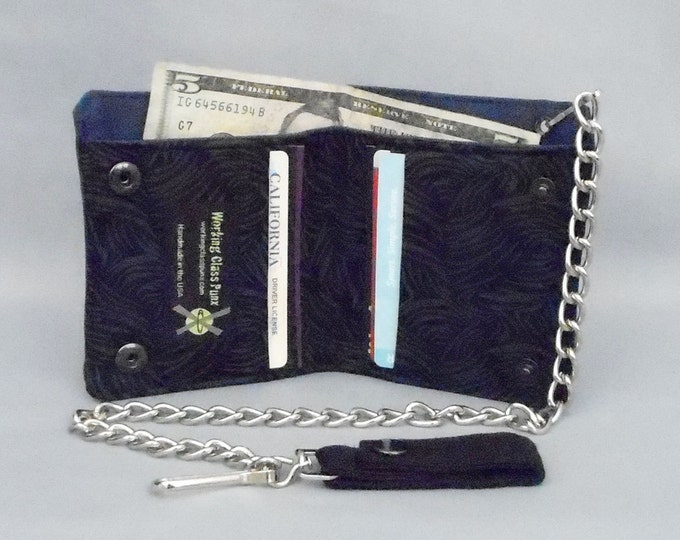 Vegan Chain Wallet Black Gray Scratch Navy Blue Canvas