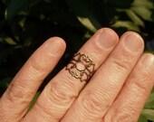 Knuckle Midi Ring - Filigree Scroll Boho Adjustable Midi Ring
