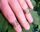 Set of 2 - Knuckle Midi Rings - Filigree Scroll Boho Adjustable Midi Rings