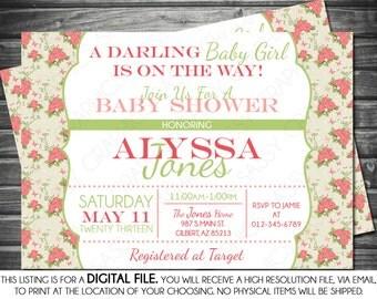 Girl Baby Shower Invitation - Roses, Pink, Green, Vintage, Printable, Digital