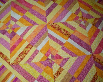 Pink, Orange and Yellow Spider Web Quilt, Girls Quilt, Quiltsy Handmade
