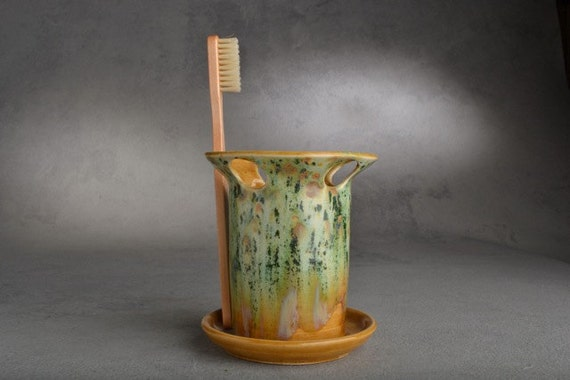 Toothbrush Holder Green Brown Toothbrush Holder by Symmetrical Pottery