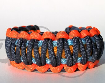 Thunder Oklahoma City OKC Inspired King Cobra 550 Paracord Survival Strap Bracelet with Plastic Contoured Side Release Buckle