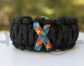 Your Choice Awareness Ribbon King Cobra 550 Paracord Survival Strap Bracelet Anklet with Plastic ContouredBuckle