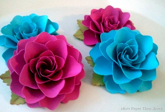 Paper Flowers - Handmade - Set of 25 - Powder Blue - Weddings - Party Favors - Custom Colors Available