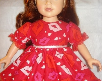 Fancy red lip printed red dress with lace for 18 inch Dolls - ag14