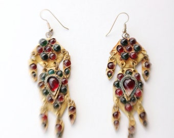 Vintage 80's/90's Tribal Gold Tin Red and Green Glass Cabochon Dangle Earrings