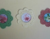 Buds and Blossoms. Set of 3 crochet picture frames