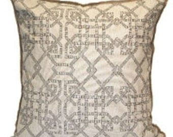 Pillow Cover Cushion 20x20   charcoal geometric  parterre  pattern  on natural linen  geometric  pattnern  , other sizes available,
