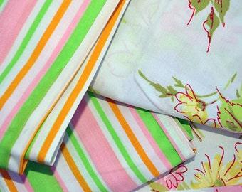 Retro Fruit Striped and Flowers Pillowcase Sets, Vintage Linens, 1970s