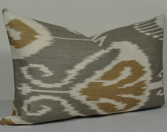 KRAVET Ikat Gray Tan Lumbar Decorative pillow cover, throw pillow Bansuri designer pillow