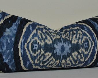 Duralee IKAT long LUMBAR - decorative pillow cover - batik indigo - blue - navy - natural - accent pillow - throw pillow